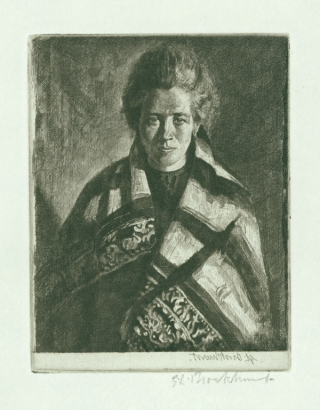 """Ballynakill Woman"", etching, signed lower right in plate and below in pencil. Gerald L...."