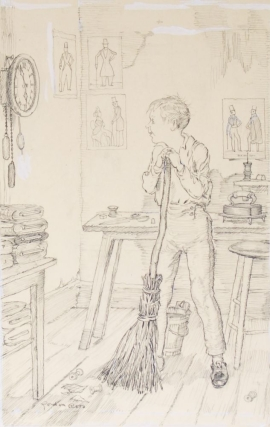 ORIGINAL pen Illustration, picturing a boy with a broom in a tailor shop, looking at wall clock....
