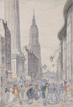 "ORIGINAL pencil, crayon and watercolor illustration, caption reads ""New York"" and below ""Frontispiece, reference p. 175."" Signed by the artist lower left"