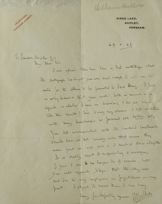 "Autograph Letter Signed (""HBelloc"") to Sr ? Deighton (?), SJ, concerning an Autograph Album to be..."