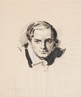 ORIGINAL Portrait of Maurice Evans, pencil and ink, touched with white. Gordon Ross
