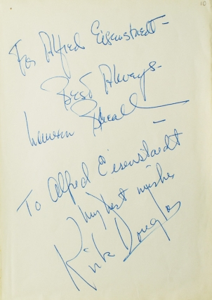 "Autograph Inscriptions Signed (""Best Always, Lauren Bacall"" and ""to Alfred Eisenstaed / my best..."