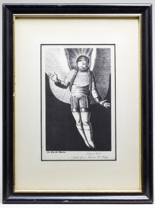 """On Earth Peace"" Lithograph of an Angel in Eskimo Clothing. Rockwell Kent"