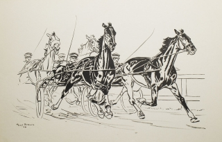Original drawing of a harness-racing scene. Paul Brown