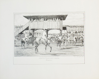 "Uncolored Lithograph: ""American Horse Show Scenes, Rochester"" Edward King"