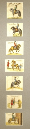 Seven hand-colored engraved plates showing methods of riding and training horses. Horsemanship