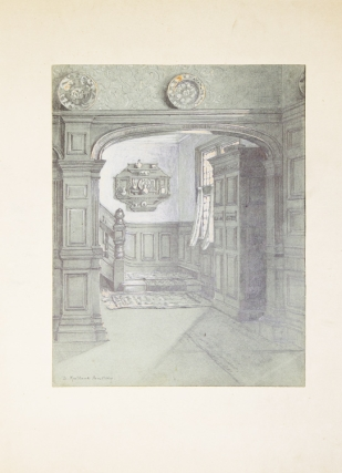 Original drawing of a spacious domestic panelled hallway, stairwell and sunlit window. David Maitland Armstrong.