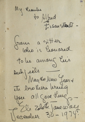"Autograph Note Signed to LIFE photographer ALFRED EISENSTAEDT. ""To Alfred Eisenstaedt-This pen..."
