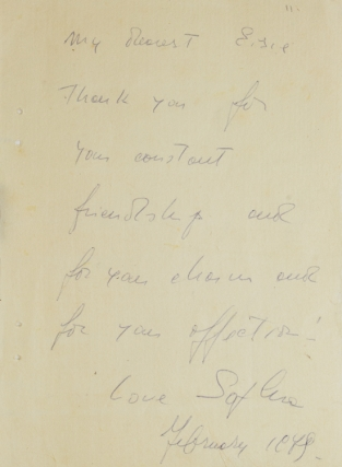 "Autograph Note Signed to LIFE photographer ALFRED EISENSTAEDT. ""To My Dearest Eisie Thank you..."