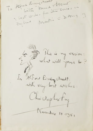 "Autograph Note Signed to LIFE photographer ALFRED EISENSTAEDT With Self Portrait by Fry. ""This..."