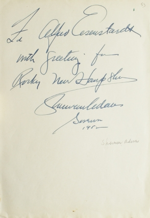 "Autograph Note Signed to LIFE photographer ALFRED EISENSTAEDT, ""For Alfred Eisenstaedt with..."