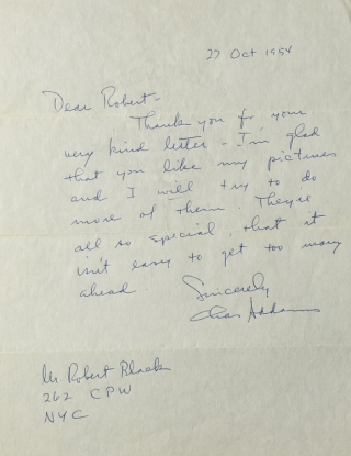Autograph Letter, Signed (Chas Addams), to Robert Black (sic Block). Charles Addams.