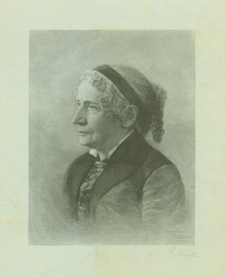 Proof portrait wood engraving of Harriet Beecher Stowe, and artist's Autograph Letter, signed concerning it, with another engraving of unidentified man
