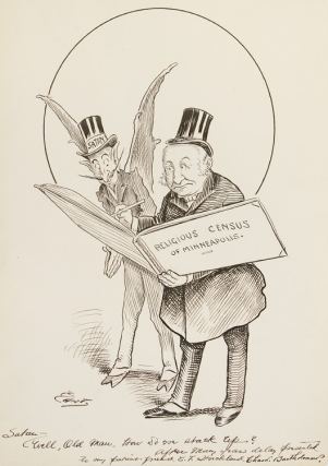 One Cartoon Drawing signed and inscribed, 2 Autograph Letters Signed, and one Typed Letter signed, all to E.F. Strickland