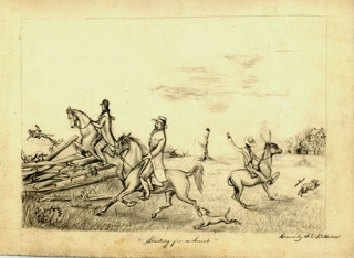 """2 pencil drawings. """"starting for a Hunt"""" with horseman jumping fence, etc & """"Escaped"""" with two horsemen"""