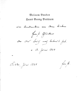 "Collection of six books inscribed to the author's brother Hans Georg, including: Deutsche Gestalten. Fest- und Gedenkreden, 1934. The Dedication Copy. [With:] Wartburg. Spruchgedichte, 1933. ""Exemplar Nr. 2', additionally inscribed, ""Ohne Gefahr keine Rettung"". [And] Griecheneiland, 1934. [And] Das weiße Pferd. No. 8 of 120 copies, [1936]. [And] Straßburg. Ein Gedichtkreis, 1928. [And] Nietzsche. Versuch eine Mythologie, 1929"