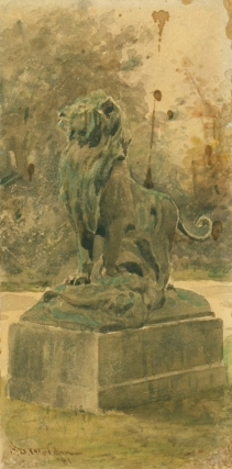 Drawing of a sculpture of a lion on pedestal. Charles Dater Weldon