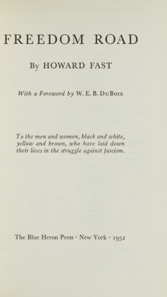 Freedom Road. With a Foreword by W.E.B. Du Bois
