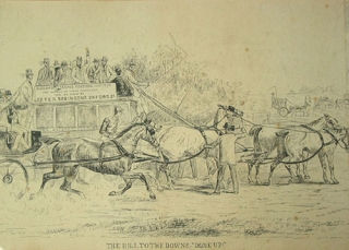 "An original pen-and-ink drawing of a four-in-hand coaching scene ""Hill to the Downs. 'Done Up!'"" Coaching."