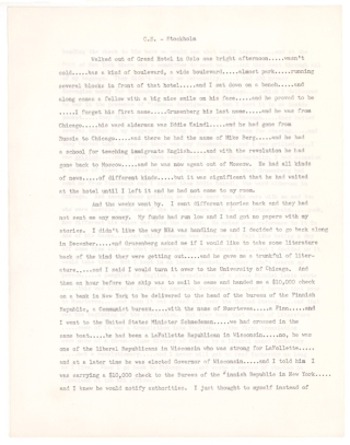 "Small archive relating to Sandburg's alleged espionage: carbon typescript of ""C.S. - Stockholm""..."