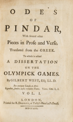 The Odes of Pindar, with several other Pieces in Prose and Verse, Translated from the Greek. To...