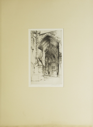 Etching: French Lace West Portal of the Main Façade of the Church of Notre-Dame, on the Place Notre Dame, Villefranche-en-Rouergue, Aveyron, France. With cover leaf of text