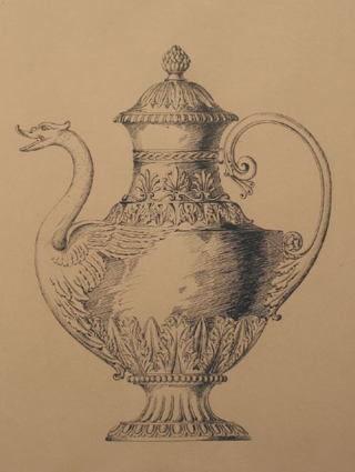 Original pen design for elaborate tea pot with the head of swan as spout. George R. Benda