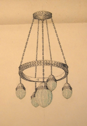 Original pen and blue watercolor design for five light ceiling lighting fixture. George R. Benda
