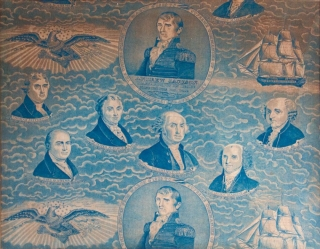 Printed French Textile of American Presidents. Roller-printed in blue on white ground with the likenesses of the 7 Presidents from Washington to Andrew Jackson. With the Legends in English. Andrew Jackson.