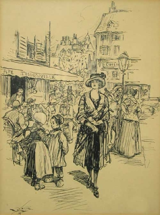 Pen and Ink Drawing depicting a Fashionable Lady standing in Front of a Parisian Café. Reginald...