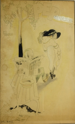 """Pen and ink drawing heightened with watercolor of a man reading a newspaper (""""New Press"""") on a park bench with big eyed woman in an over-sized hat peering back at him over her shoulder"""