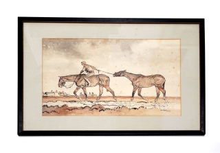 "Watercolor on paper, enhanced by crayon, titled ""War Horses"" Paul Brown"