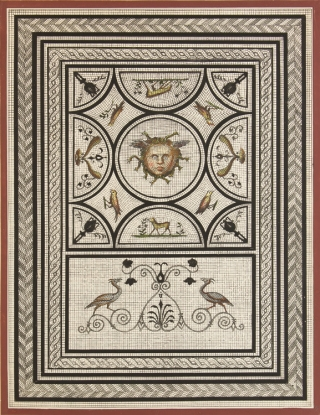 Album of 55 exquisitely colored lithographs and watercolor drawings in the style of Pompeiian frescoes
