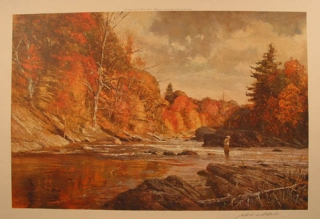 "Fishing Print: ""Fall Fishing,"" depicting a fisherman in a river in the midst of fall foliage. Robert Abbett."
