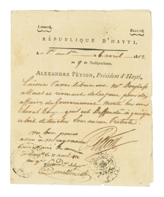 Collection of Haitian Presidential autographs, comprising autograph and partly printed documents on executive stationery, signed by eleven Presidents of the Republic of Haiti from Alexandre Pétion to Philippe Sudre Dartiguenave. Haiti.