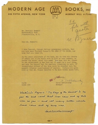 "Autograph Note signed (""Dashiell Hammett "") at the foot of a TLS from David Sablodowsky (publisher) to Hammett, soliciting a comment on Vladimir Pozner's novel, THE EDGE OF THE SWORD. Dashiell Hammett."