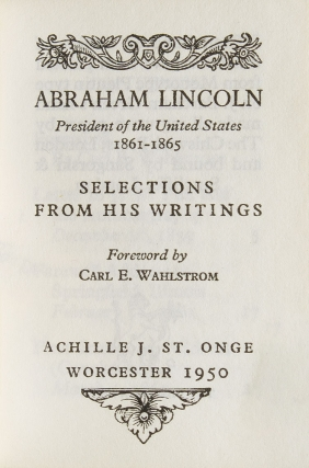 Selections from His Writings. Foreword by Carl E. Wahlstrom