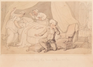 Dr. Syntax lamenting the loss of his wife. Thomas Rowlandson.