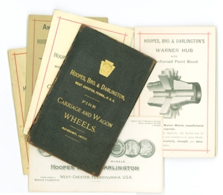 Five trade catalogues of carriage and wagon wheels. Coaching, Hoopes Bro., Darlington Co.