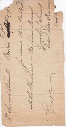 "Autograph Manuscript Order, Signed ""Edwd Edes Overseer"" to Samuel Whitwell requesting that he ""receive Polly Ballard into the Almshouse on the Towns Account."". Boston Almshouse, Edward Edes."